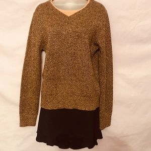 Sweater, tan and black weave, faux layered look, M